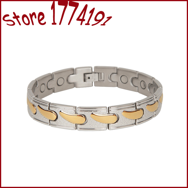 Health Care Jewelry Bracelet Men Stainless Steel Magnet Bracelet With Aimant Therapy Magnetic Bangle Unisex 2 Tone Gold Armband