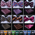 Pocket Square Classic Party Wedding New Striped Solid Men Woven Silk Wedding Self Bowtie handkerchief Set #H5