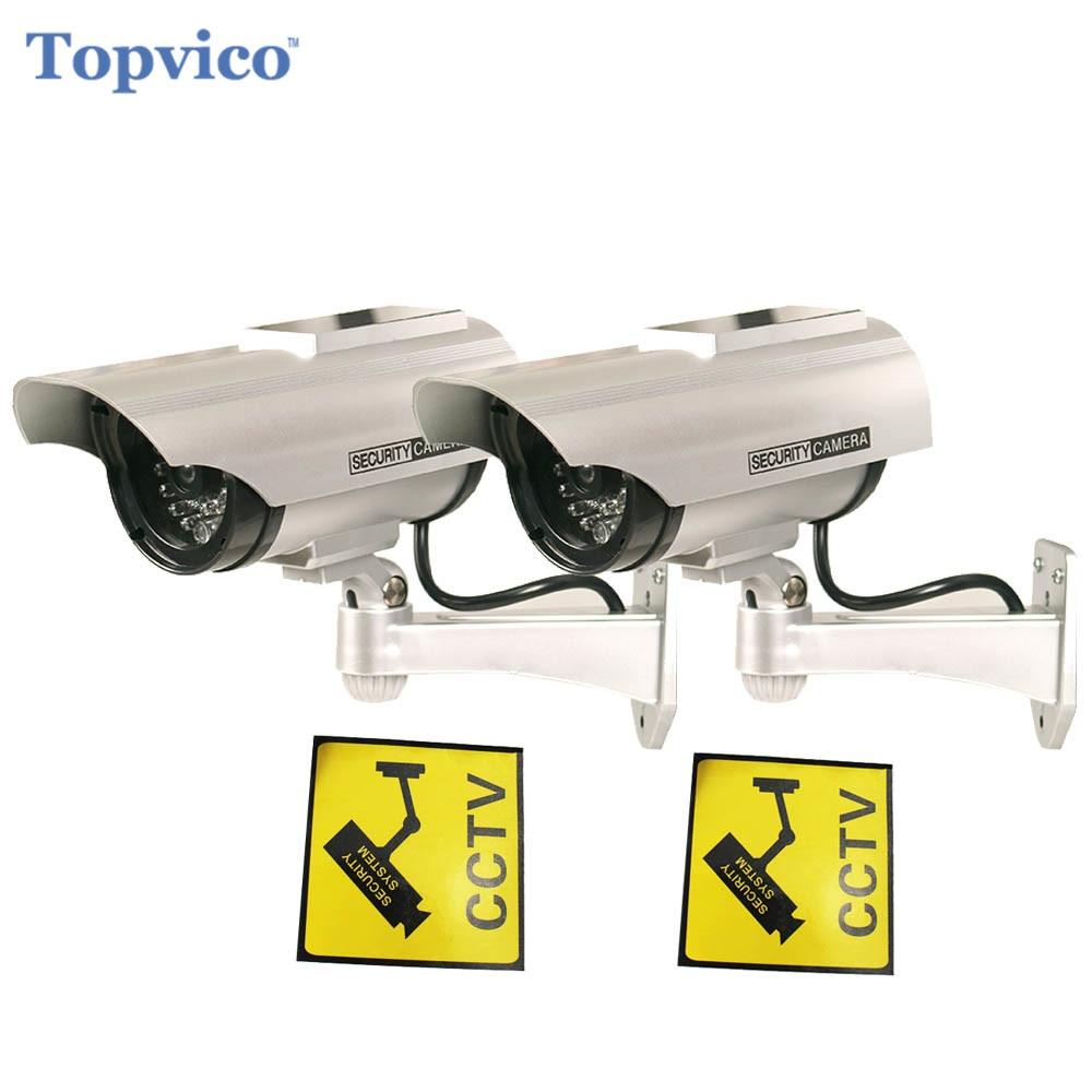 Topvico 2 pcs Caméra Factice Solaire + Batterie Propulsé Scintillement LED Extérieure Faux Surveillance de Sécurité À Domicile Caméra Bullet CCTV Caméra