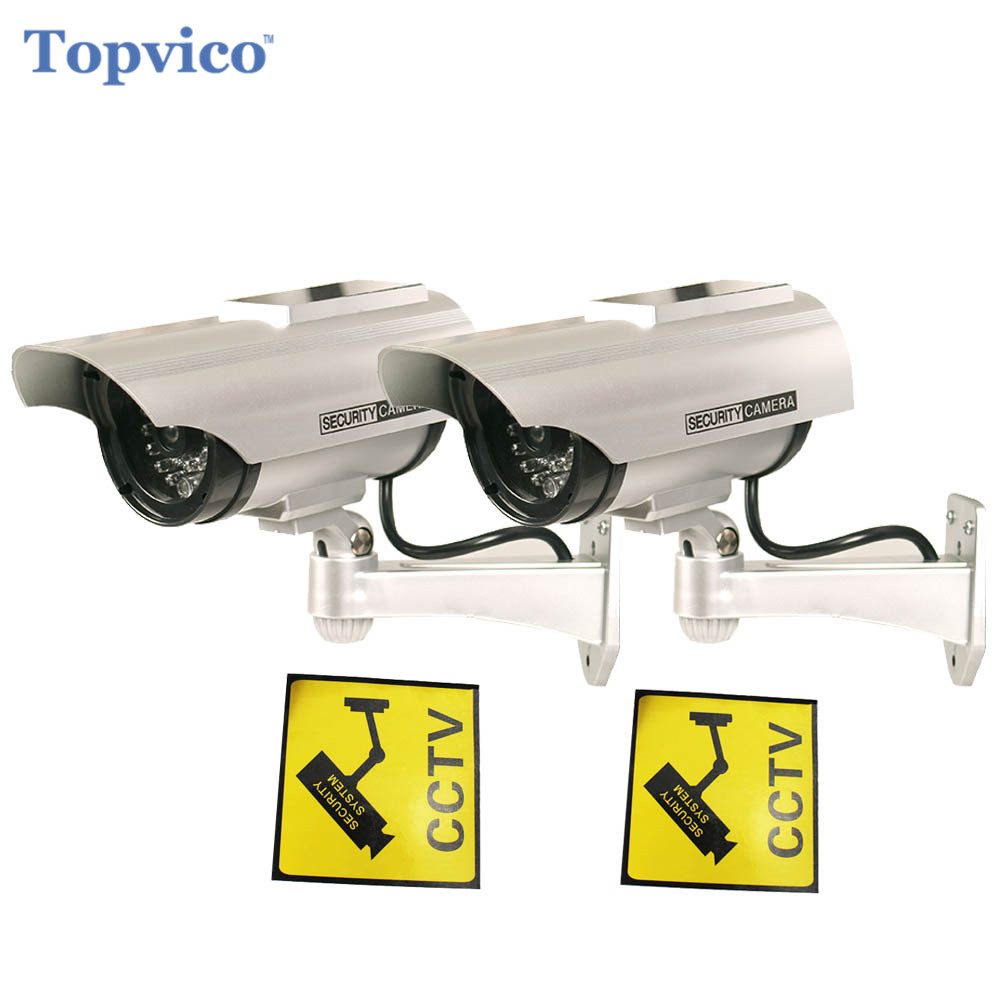 Topvico 2pcs Dummy Camera Solar + Battery Powered Flicker LED Outdoor Fake Surveillance Home Security Camera Bullet CCTV Camera solar power fake dummy outdoor security home cctv camera battery powered flicker led red light home security surveillance camera
