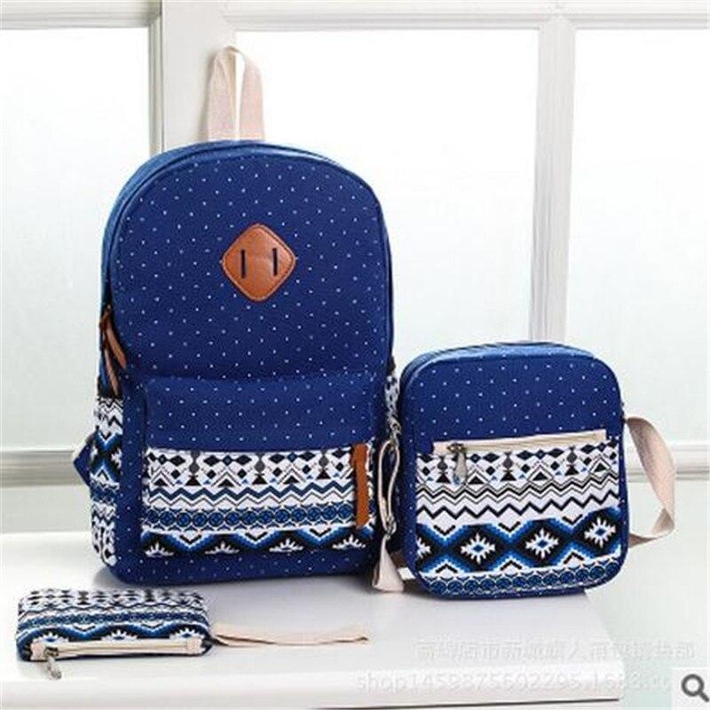 Wenyujh Canvas Backpack 3 Pcs/set Women School Backpacks Schoolbag For Teenagers Sac A Dos Student Bookbag Rucksack Backbag