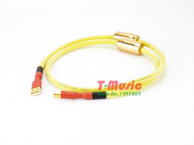 1 Uds Audio HiFi Tpye A-B 4N Cable USB de cobre plateado con anillo magnético Anti-interferencia doble, amarillo
