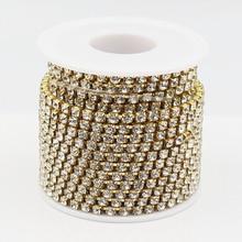 Promotion 1 row ss16 rhinestones chain 10 yards/lot gold metal clear glass wedding dress decorative crystal