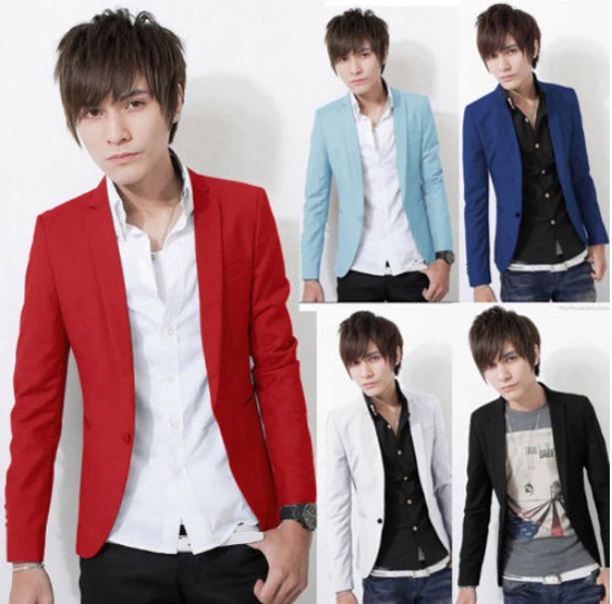 2015Popular New Mens Boys Slim Fit Stylish Casual One Button Suit Coat Jacket Blazer-in Blazers ...