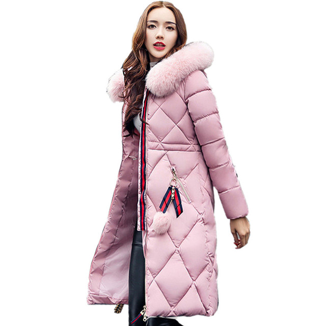 Big fur winter coat thickened parka women stitching slim long winter coat down cotton ladies down parka down jacket women 2017 1