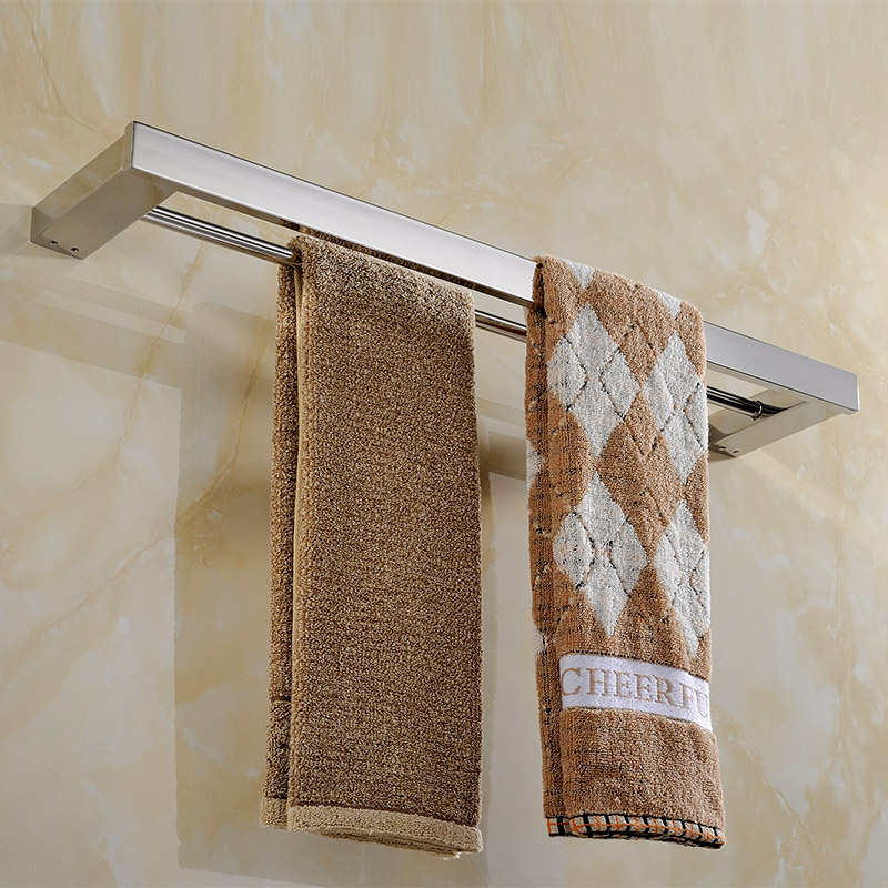 2016 Bathroom SUS 304 Stainless Steel Double Layer Towel Bar Solid Square High Quality Bathroom Towel Rack 60cm Length N7000-3 304 stainless steel bathroom towel rack bar hangers more