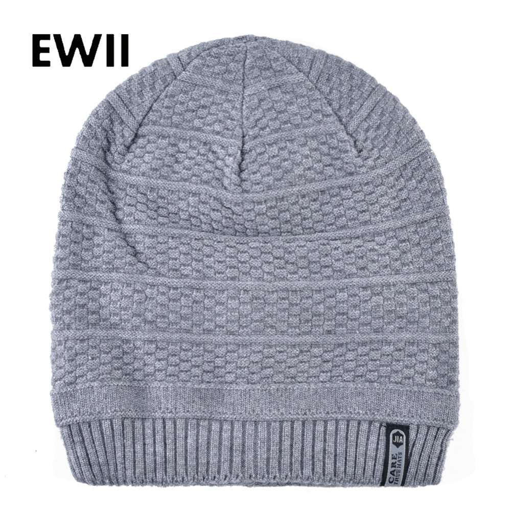 2018 Thick warm winter hats men knitted wool caps   sKullies     beanies   for men soft   beanie   hat women fashion cap bonnet femme