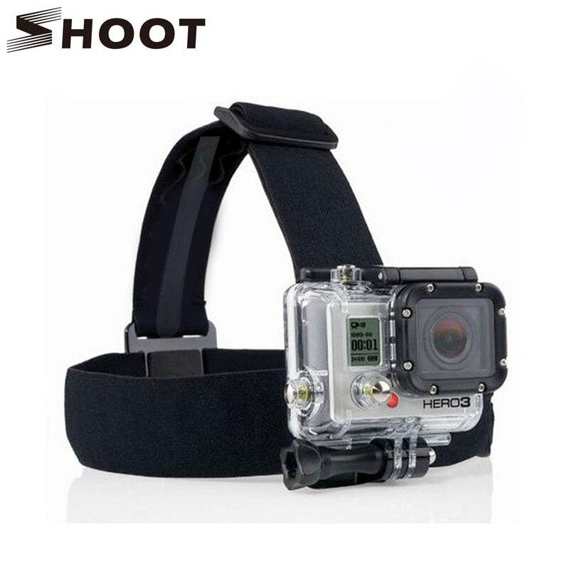 SHOOT Black Elastic Head Strap Mount For Gopro Hero 4 3 2 3+ 4 Session SJCAM SJ4000 SJ5000 Xiaoyi 4K Go pro Accessories