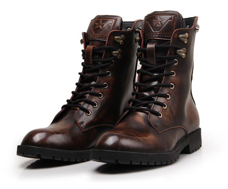US6 9 Genuine Leather Men Lace Up Ankle Boots Milittary Combat Punk COMBAT PUNK Celeb Shoes