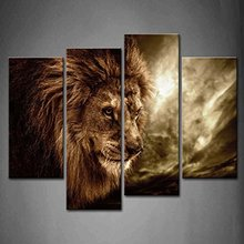 4 Panel Modern Printed Animal series brown lion Picture  Kitchen Canvas Painting Wall Art Home Decor For Living Room Frame