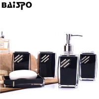 BAISPO 5 Pcs Set Bathroom Accessory Sets Soap Dish Dispenser Toothbrush Paste Holder Set Bathroom Wash