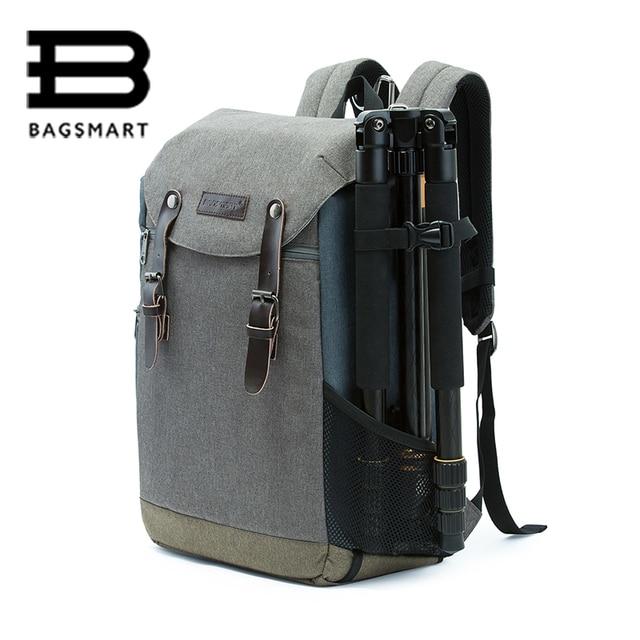BAGSMART Men Multifunctional Camera Backpack DSLR Bag for 15.6 Laptops  Waterproof Rain Cover for Canon Nikon