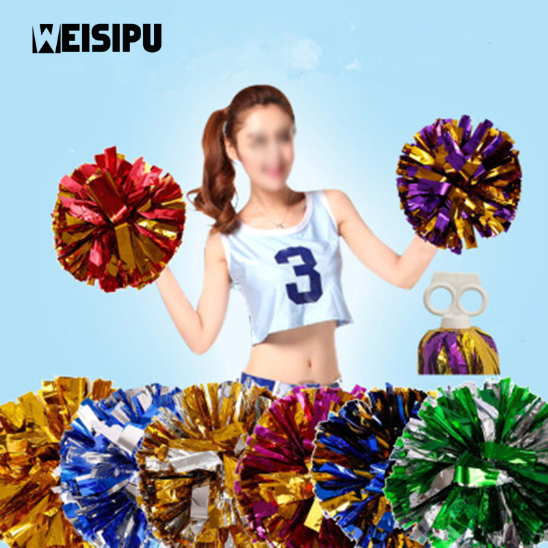 WEISIPU 1pcs Handheld Pom Poms Cheerleader Cheerleading Cheer Dance Football Club Party Decor Photobooth Props