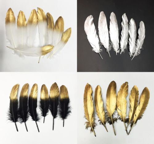 10pcs Newest Double Side Gold Color Goose/Duck Feathers Decoration Plume diy Silver feathers