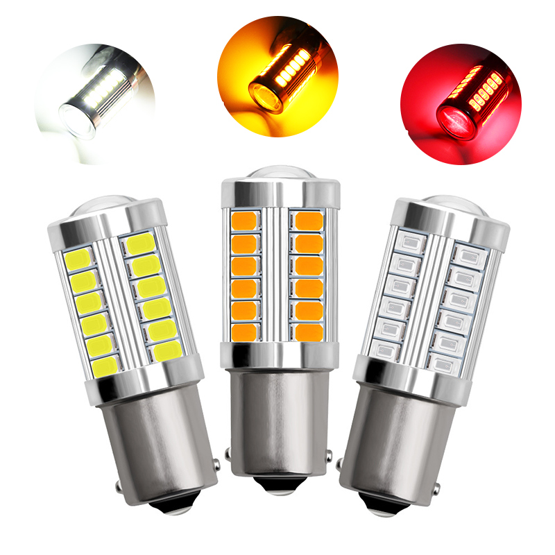 1Pcs 1156 Led Bulb BA15S <font><b>P21W</b></font> 33 LED 5630 5730 SMD Car Tail Bulb Brake Lights Auto Reverse Lamp <font><b>Red</b></font> White Yellow Color image
