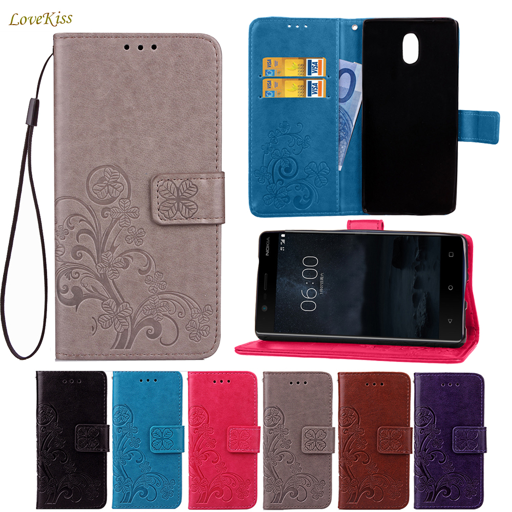 Flower Flip Stand Leather Wallet <font><b>Case</b></font> For Microsoft <font><b>Nokia</b></font> <font><b>3</b></font> 5 6 TA-1020 TA-<font><b>1032</b></font> Cover Clovers Phone Bag Card Holder Shell <font><b>Cases</b></font> image