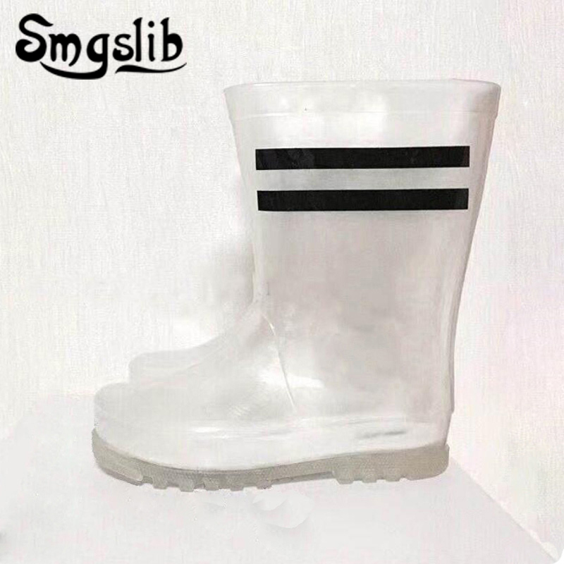 Children Rainboots 2019 Fashion Waterproof Pvc Girls Boots Kids Boys Boots Baby Transparent Jelly Rubber Shoes 24-35