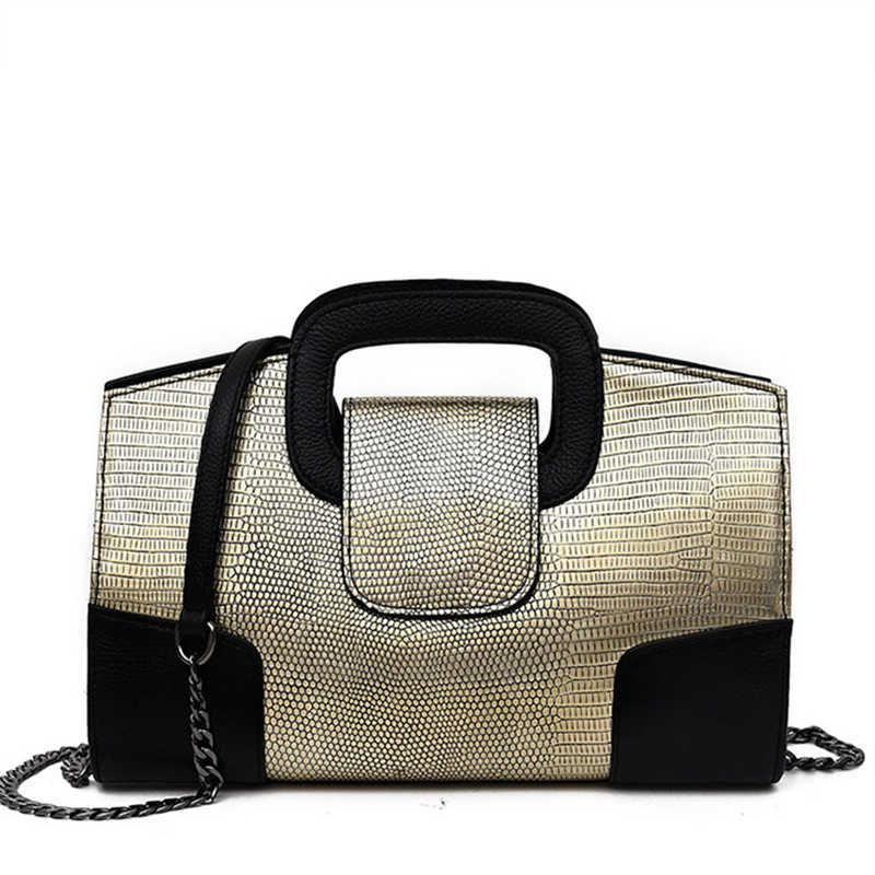 Известный дизайнер бренд цепи сумка на плечо для женщин маленькая сумочка под змеиную кожу кошелек женские сумки через плечо золото/черный/золото сумка