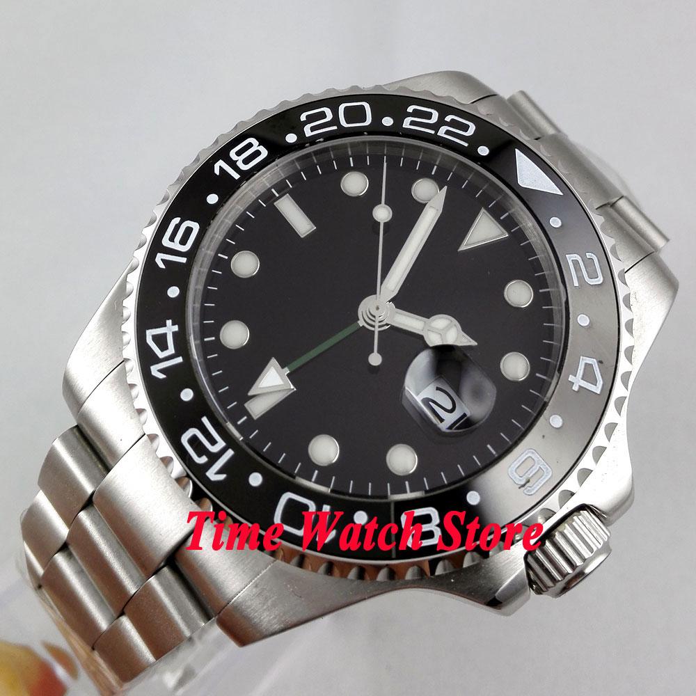 Bliger 43mm black Sterile dial GMT Ceramic Bezel sapphire glass Automatic movement Men's watch 294 цена и фото