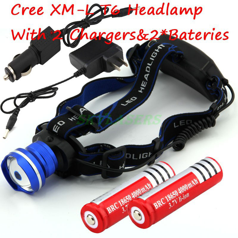 CREE XM-L T6 XML Headlight LED 1800Lm Rechargeable Zoom Headlamp Flashlight + Car charger + Charger + 2*18650 Batteries