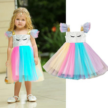 Unicorn Baby Dress Rainbow Princess Frock For Girl Infant Birthday Party Ball Gown Toddler Summer Wedding Flower Girl Costume flower dress girl costume toddler kids dresses for girls night ball gown children dot printed princess wedding party frock dress