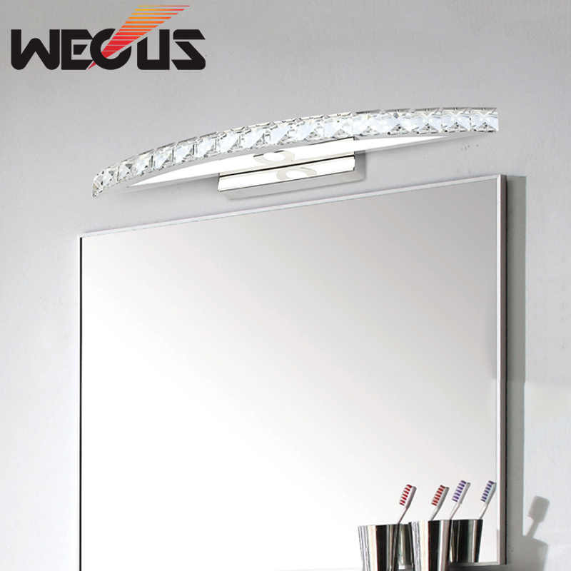 440mm 10W bathroom mirror light, 100-240V bedroom led mirror lamp, amber / clear crystal wall lamps