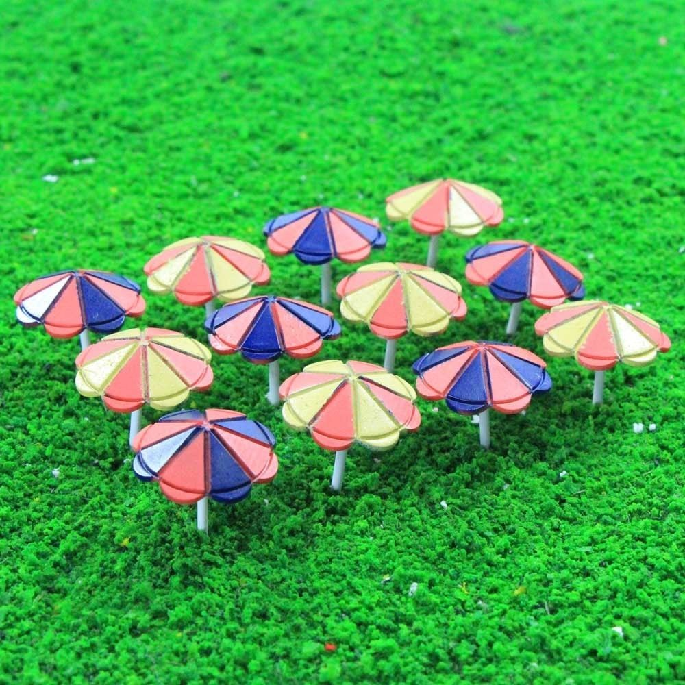 Tys41100 12pcs Model Train Sun Umbrella Parasol 1:100 Tt Scale Garden Sea Beach Suitable For Men Women And Children