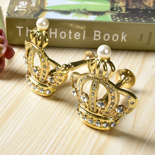 2 pcs Crystal Curtain Holders Curtain Metal Golden Hooks Tieback ...