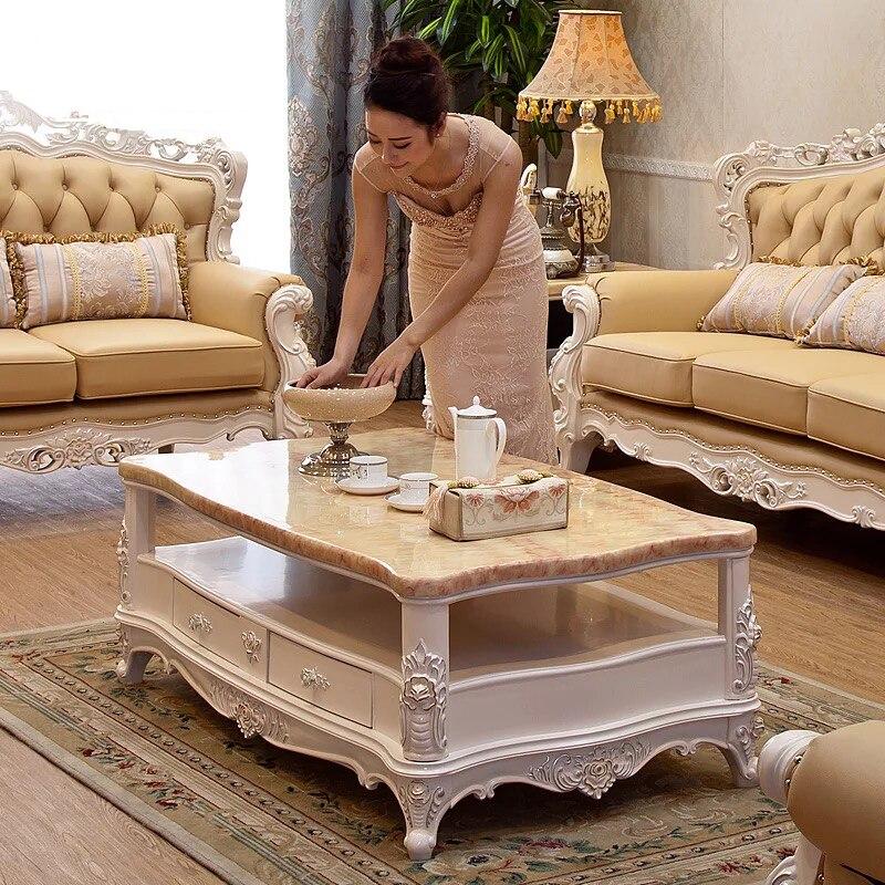 Античная Европейский и американский стиль твердой древесины мрамор топ прямоугольник центр кофейный, чайный столик для гостиная
