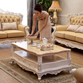 antique European and American style solid wood marble top rectangle center coffee tea table for living room