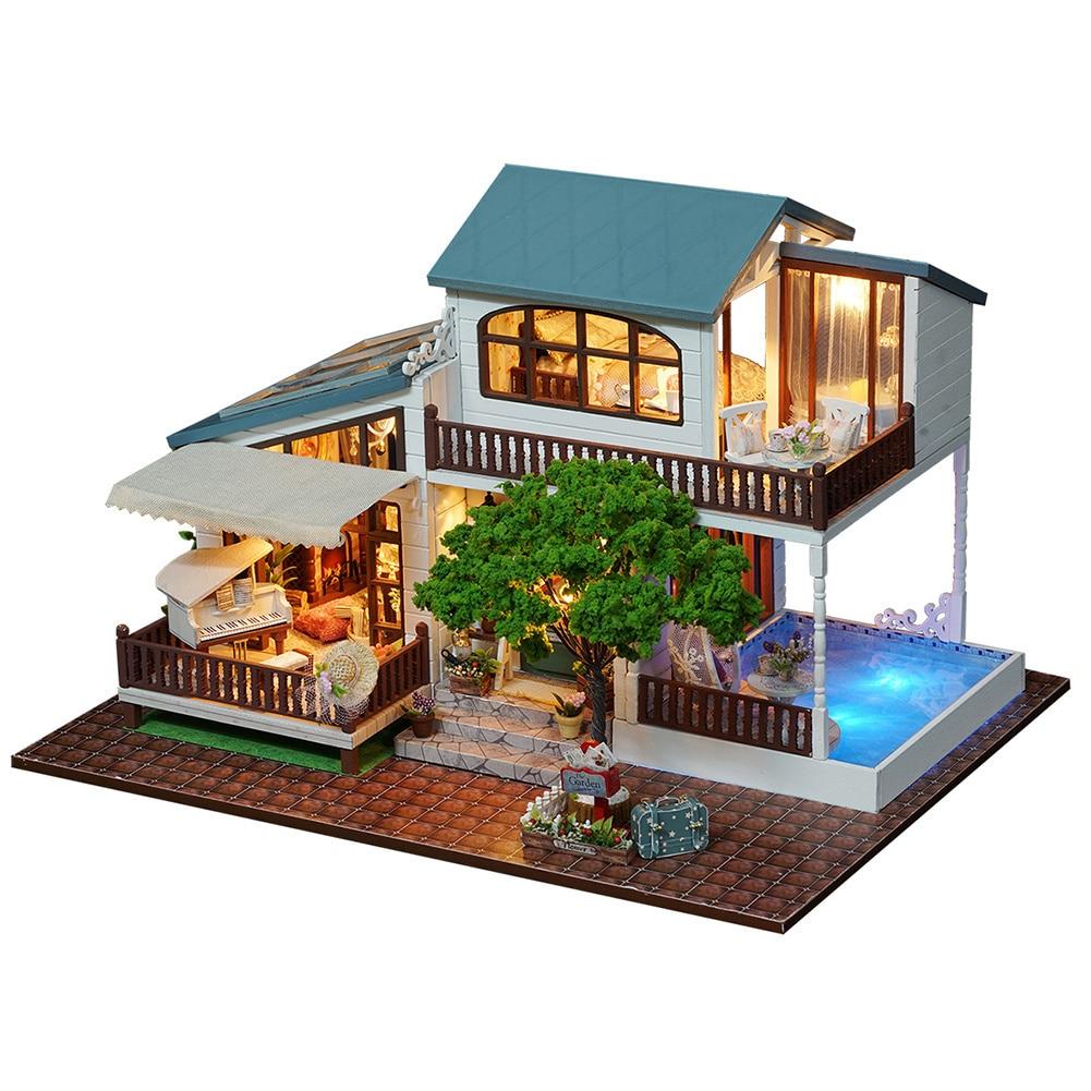 3D Wooden Puzzle Luxury Villa DIY Handmade Furnitures Miniatures Dollhouse Building Model Home Desk Decoration Gift