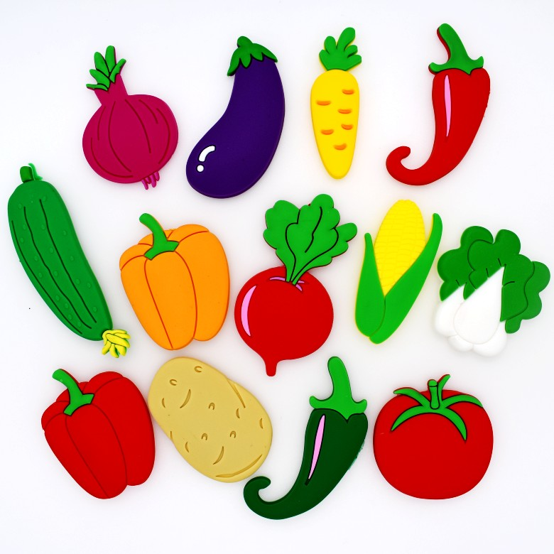 All Kinds Of Vegetables Flatback Soft PVC Charms Fit Keychain/Fridge Magnet/Clogs/Phone Case/iPad DIY Craft Ornament Party Gift