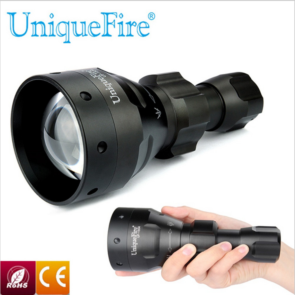 UniqueFire Zoomable Lamp Torch 67mm Convex Lens 940nm IR LED Flashlight 3 Mode LED Torch LED Light 18650 Battery Rechargeable uniquefire black flashlight uf 1503 ir 940nm led light 50mm convex lens aluminum torch zoom 3 modes rechargeable battery lamp