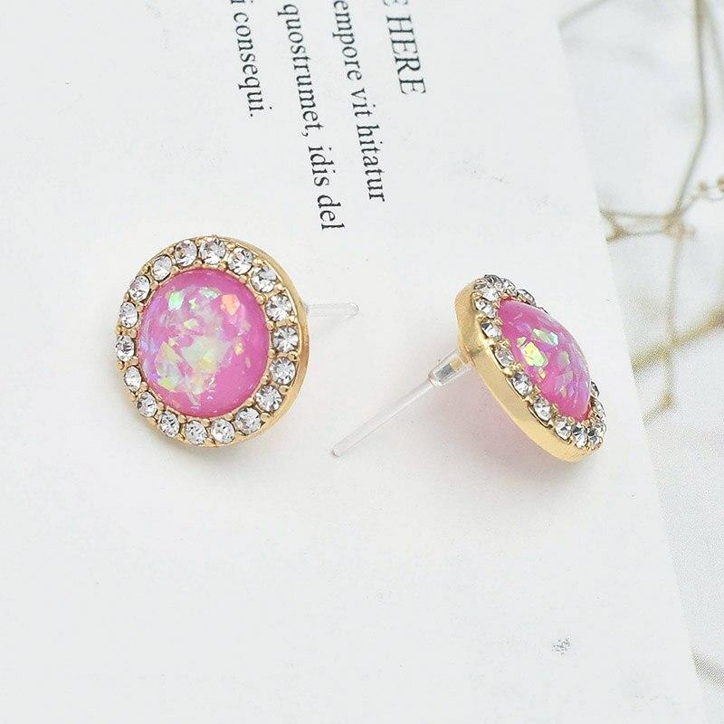 Carvejewl Korean round Stud Earrings For Women teen crystal rhinestone foil resin stone bijou plastic post anti allergy Earrings in Stud Earrings from Jewelry Accessories