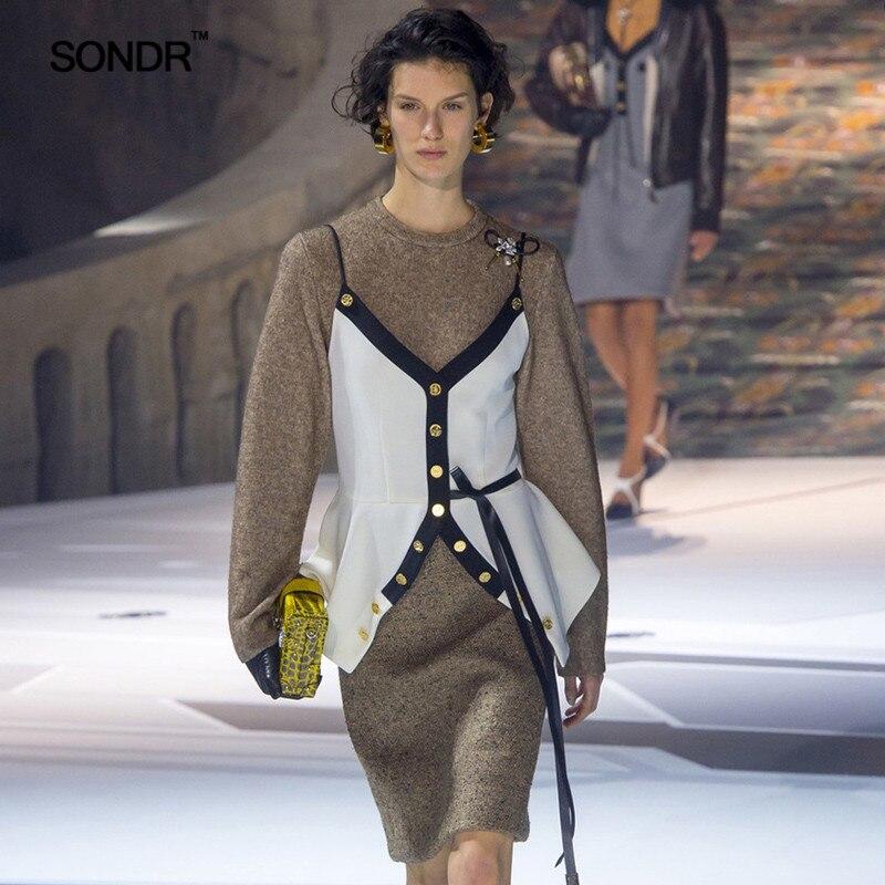 SONDR 2019 nouveau printemps été femme design simple noir blanc correspondant ceinture bouton ceinture à l'extérieur de la taille