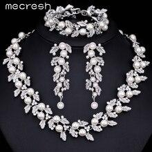 Mecresh Color Plata Simulado Perla Pendientes Pulsera Collar de la Joyería Nupcial de La Boda Set Parure Bijoux Femme TL283 + SL089