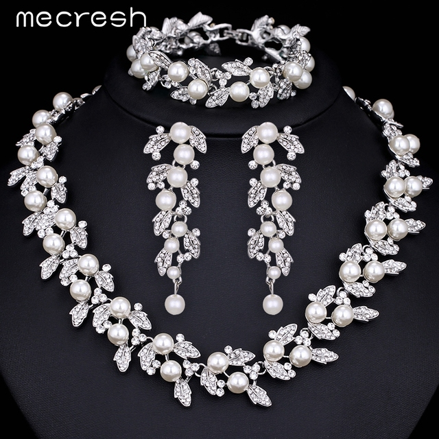 Mecresh Simulated Pearl Bridal Jewelry Sets Silver / Gold Plated Necklace Set Wedding Jewelry Parure Bijoux Femme TL283+SL089