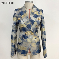 Designer Vintage Women's Jacket Blazer Double Breasted Slim Office Blazer Coat Woman Long Sleeve Print Blazer Femme Outerwear