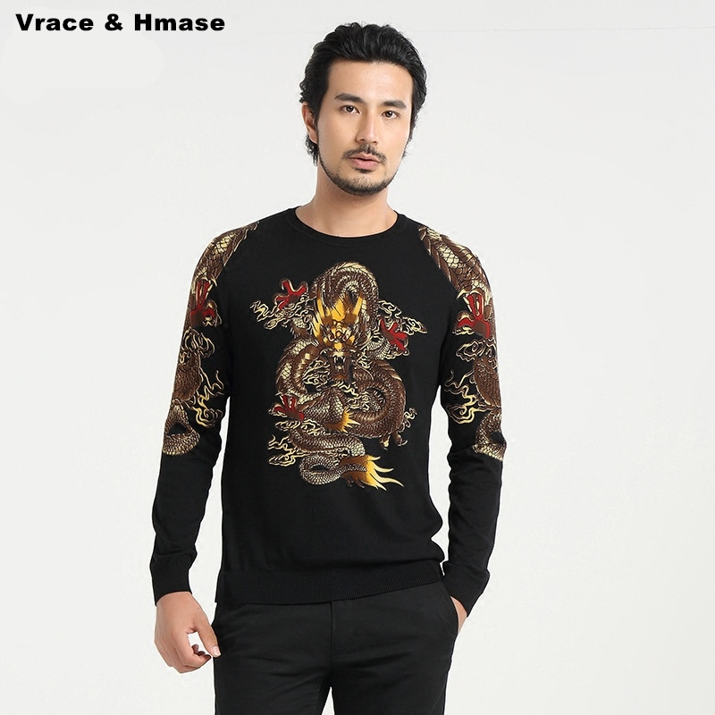 Personality Chinese Style Dragon Pattern Fashion Trends Men Sweater 2016 Autumn&Winter New Arrival Quality Sweater Men M-4XL