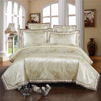 Beige greympink gold Bedding Set Noble and Elegant Duvet Cover Tribute Silk Qualified Bed Linen Queen King 4/6pcs