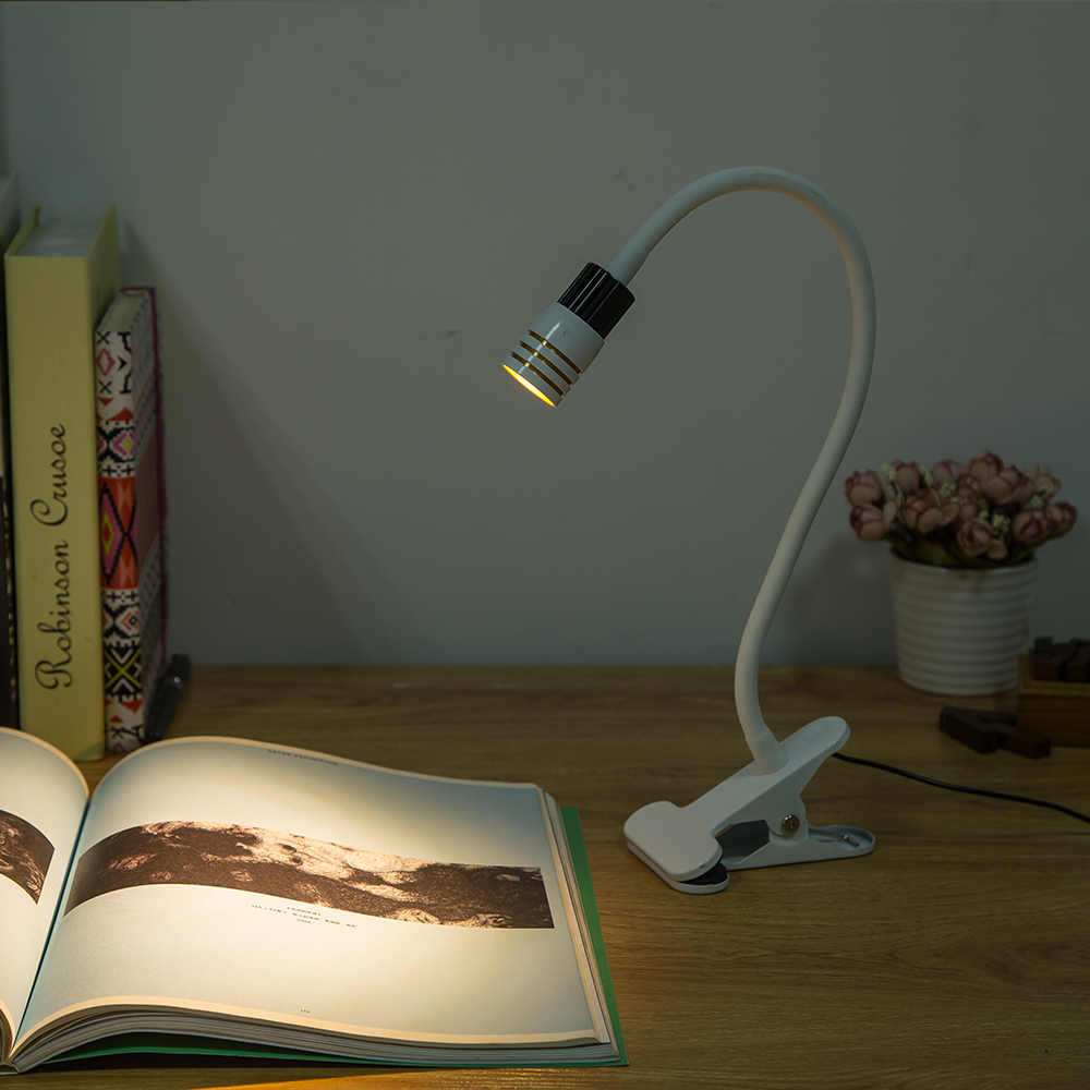 USB Table Lamp Clip Holder Desk Lamps Dimmable Flexible Bedside lamps for the study bedroom living room decoration