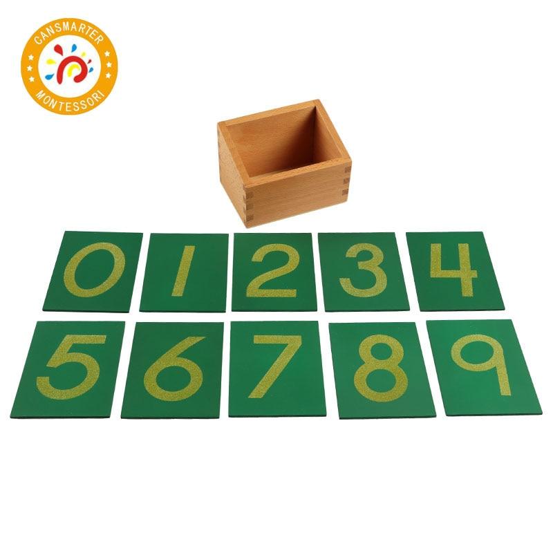 Enfants Montessori jouet Maths papier de verre numéro avec boîte hêtre en bois préscolaire apprentissage numéro exercice carte verte jouet jeux MA010