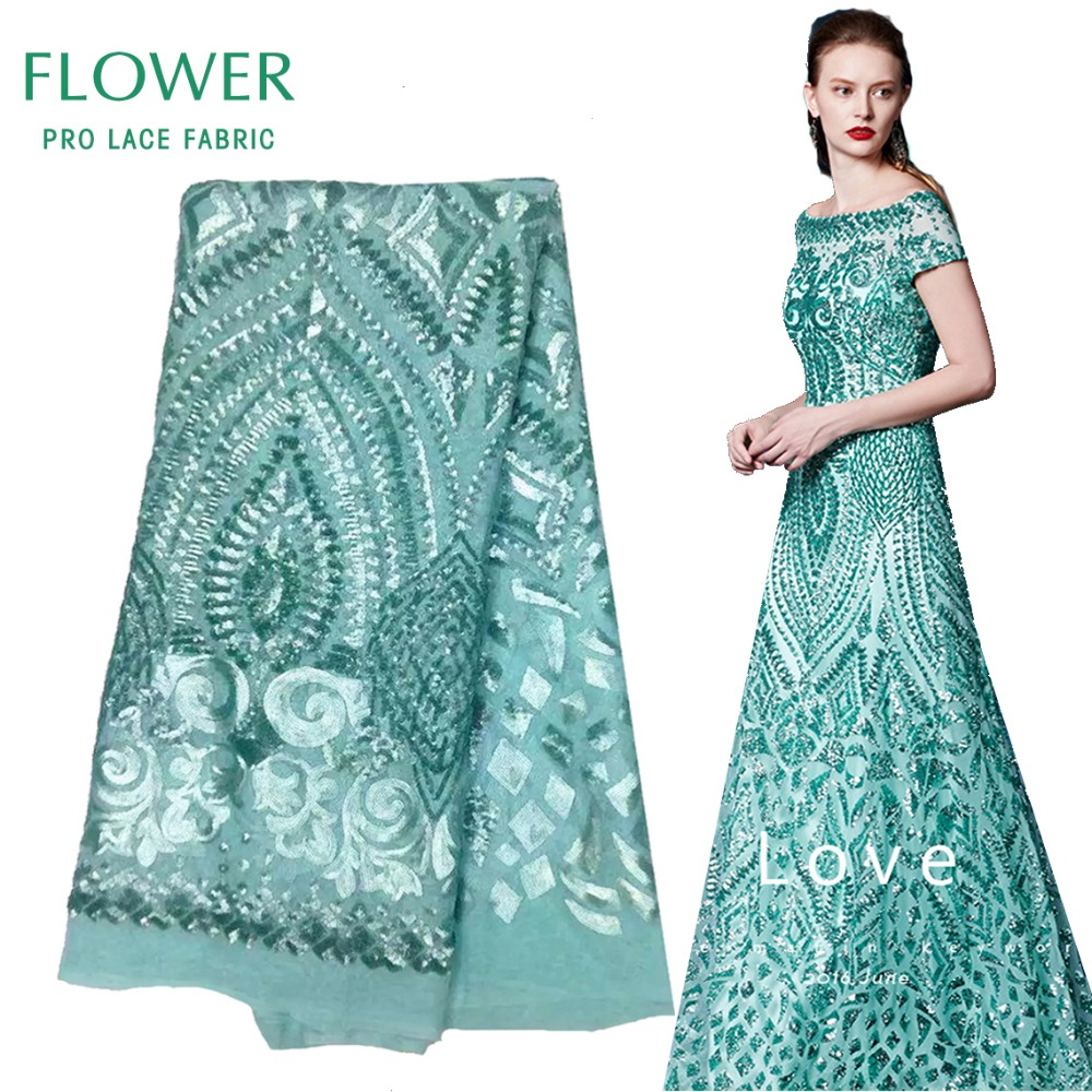 Mint Green Sequined African Lace Fabric 2017 Latset French Mesh Net ...