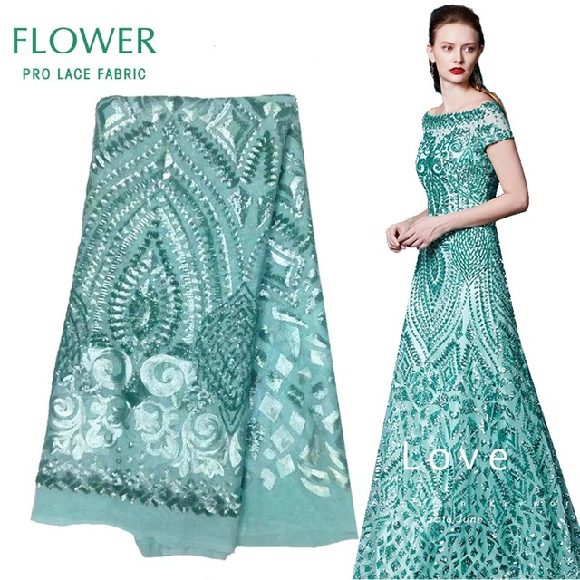 Mint Green Sequined African Lace Fabric 2017 Latset French Mesh Net Lace  Indian Wedding Mariage Dresses Material Free Shipping 881ee893f992