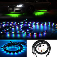 Car Styling 7 Color LED Strip Set Under Car Tube Underglow Underbody System Neon Lights Kit 2017 XR657