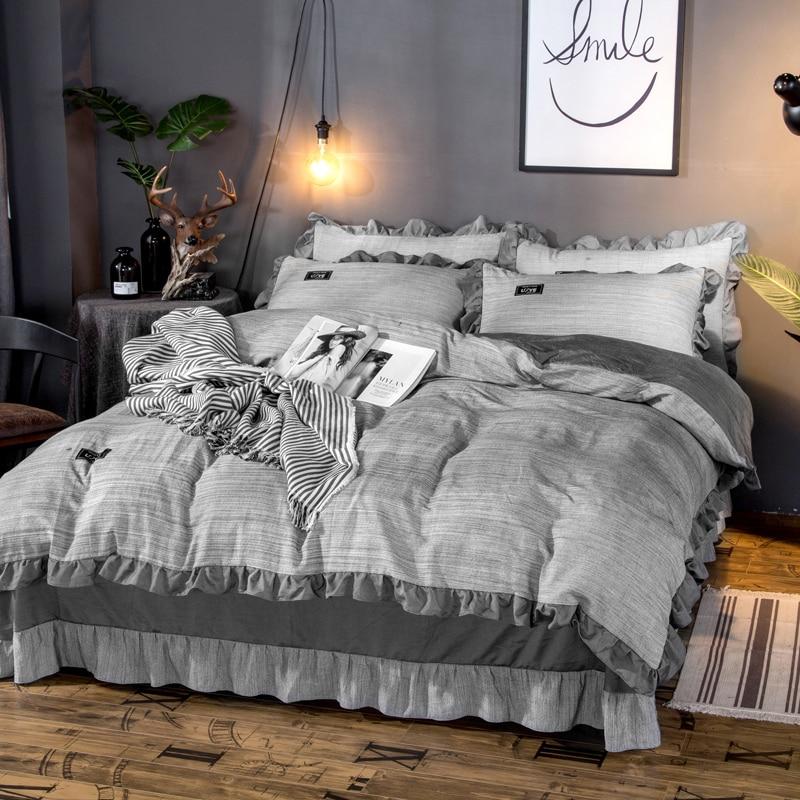 4 piezas de ropa de cama de lujo de algodón de lavado teñido de hilo/ropa de cama de tamaño Queen funda de edredón juego de sábanas