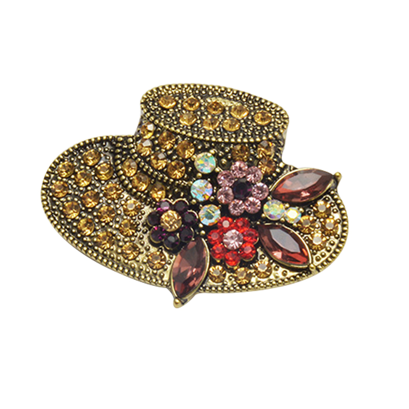 Ustar Fashion Hat Brooches For Women Pins Gold Color Blue: Fashion Hat Shape Rhinestone Brooch Pins Vintage Flower