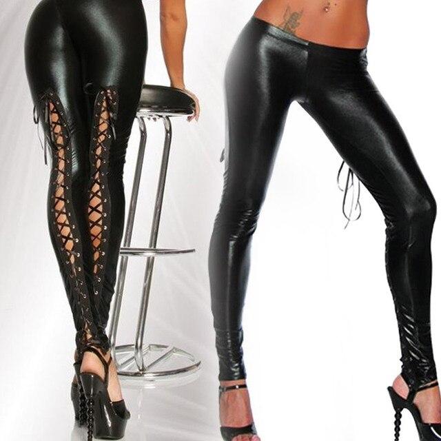 Valink 2017 Punk Leggings Women Sexy Like Lace Black Faux Leather Gothic Wet Look Clubwear Latex Legging Pants Pantalones Mujer 4