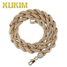 Xukim Jewelry 8mm Hip Hop Rope Chain Necklace Silver/Gold Plating Iced Out AAA Cubic Zircon Necklace Cuban Chain xukim jewelry full iced out prong setting aaa cubic zirconia silver color 8mm squire cuban chain necklace hip hop rapper jewelry