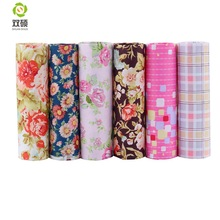 Shuanshuo Cotton Fabric Patchwork Cloth, Glamorøs Print DIY Sewing Quilting Fat Quarters Materiale til baby og dukke 40 * 50cm 6pcs / pcs